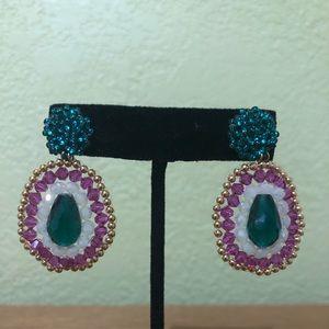 Beaded, Artisan Crafted, Dangle Earrings NWOT